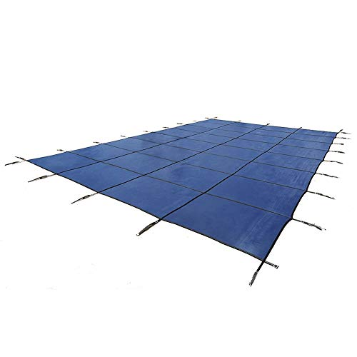 ZJM Rectangle Inground Safety Pool Cover, Strong Rainproof Dust Cover, Blue Thick Mesh Type Cover, Includes all Needed Hardware (Size : 4x7m)
