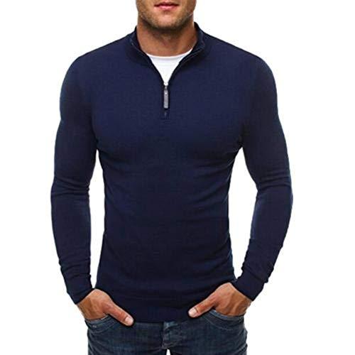 Men's Autumn Sweater Pullover Casual Solid Stand Collar Dress Slim Zipper,Navy Blue,M