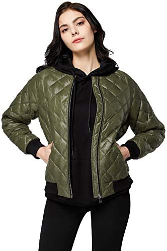Orolay Women s Light Cropped Puffer Jacket Packable Winter Coat Down Bomber Jacket ArmyGreen product image