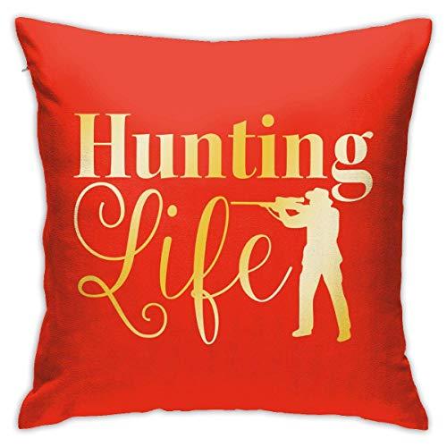 pingshang Kissenbezüge, Hunting Life Cotton Polyester Kissen Quadratische Hüllen Pilloases Sofa Home Decor 18 'X 18'