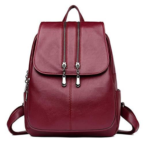 Borsa LHSOO Zaino impermeabile da donna, borsa da viaggio all aperto, borsa per studente scolastico, borsa per computer tablet WineRed