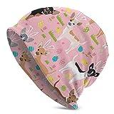 GOSMAO Uovo di Pasqua Chihuahua Cani Cappello Lavorato a Maglia per Adulti Cappellino Morbido e Morbido