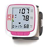 Ever Ready First Aid Fully Automatic Blood Pressure Wrist Cuff Watch Wearable Monitor - Pink- Batteries Included