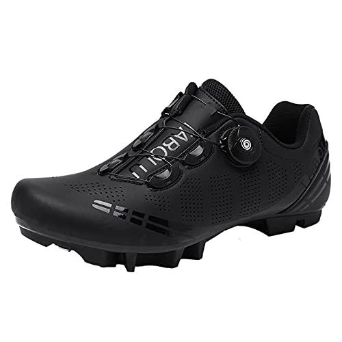 Hombre Mountain Cycling Zapatos para Mujer Camping Bicicleta Al Aire Libre Zapatillas De Deporte Perilla Hebilla Antideslizante,Negro,39 EU