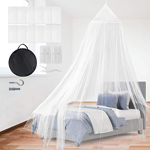 PGFUNNY Mosquito Net Bed Canopy, Portable Travel Netting Curtains for Indoor/Outdoor, Camping or Bedroom Fit Kid Bed, Girls Bed –Carry Bag & Hanging Kit for Easy Setup - No Added Chemicals