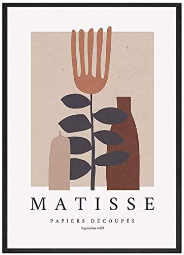 LangGe Póster Obras de Arte 30x50cm sin Marco Matisse Arte de Pared Abstracto Beige Rosa Florero Póster Famoso Pintor fauvista Pintura en Lienzo Sala de Estar Matisse