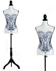 HOMCOM Maniquí Femenino de Costura Busto de Señora para Modistas Exhibición Altura Ajustable a 130-168cm