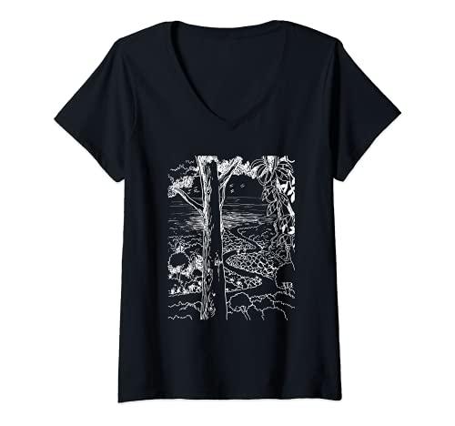 Mujer Paraíso, tropical, sendero de la selva, playa de la isla, toldo Camiseta Cuello V