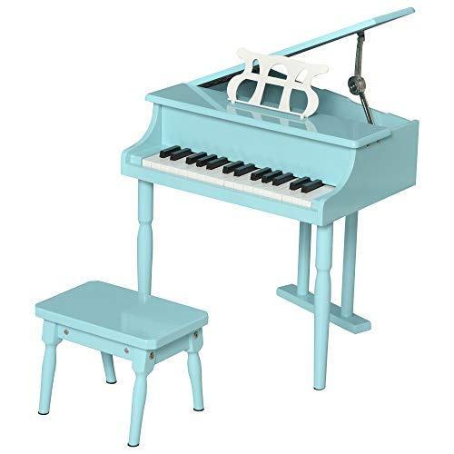 HOMCOM Modern Kids Piano 30 Keys Set of 2 Mini Toy for Child Grand Piano with Music Stand and Bench, Best Gifts Green