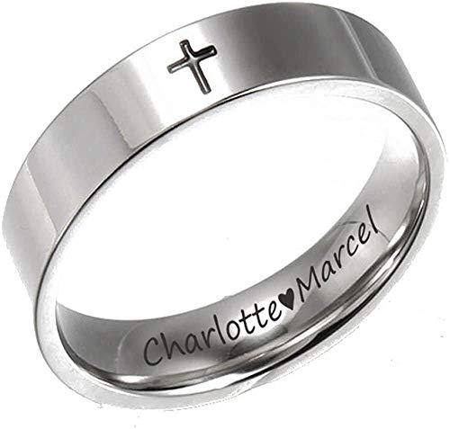 ROWAWA Anillo de cruz personalizado grabado de acero inoxidable simple banda para hombres y mujeres, regalo de religiones