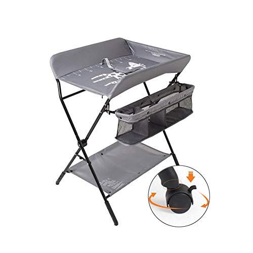 HBIAO Mobiler Wickeltisch, Höhenverstellbarer Wickeltisch zum Zusammenklappen Schminktisch Babymassagetisch mit Rad,Grau