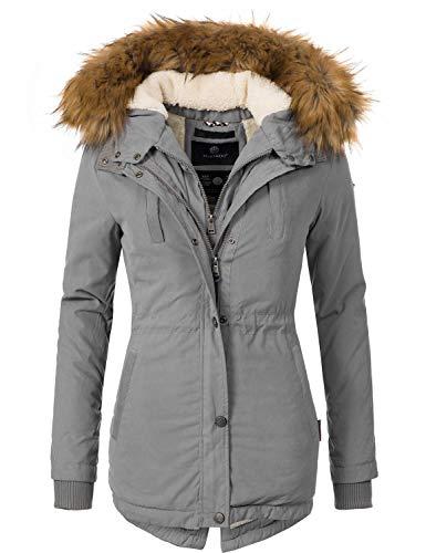 Marikoo Damen Mantel Wintermantel Winterparka Akira Grau Gr. XL