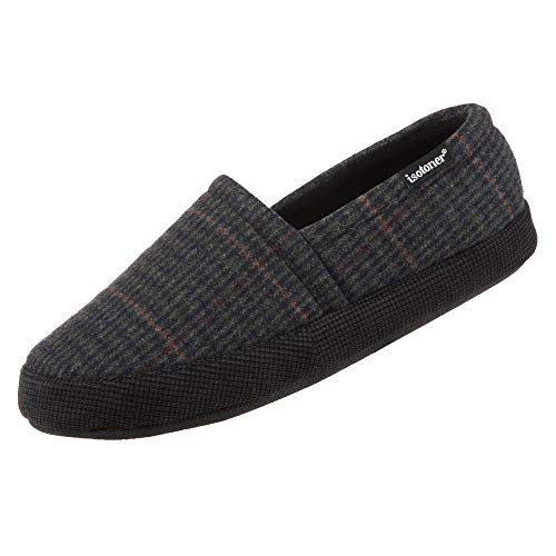 isotoner Men's Plaid Closed Back Slipper with Cooling Memory Foam for Indoor/Outdoor Comfort Black