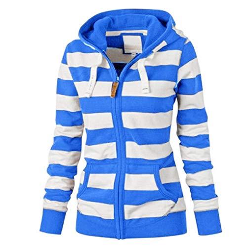 TUDUZ Sale Women Hoodie Coat Ladies Zipper Stripe Hooded Sweatshirt Casual Slim Sport Jacket Jumper Tops with PocketBlueSUK6
