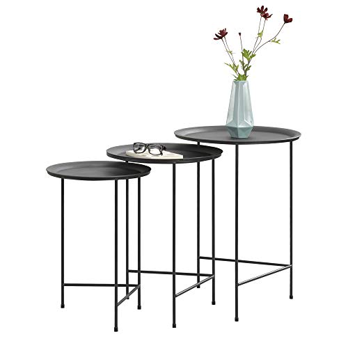 [en.casa] Set de 3 Mesas de Centro 50cm x 35cm, 55cm x 40cm, 60cm x 45cm Mesa Auxiliar de Salón Mesa de té Mesa de café Negro