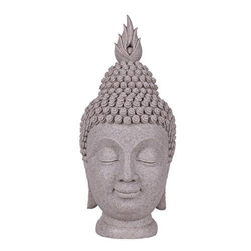 YJKJ Buda, Estatua Estatuas Cabeza De Buda Decoracin del Hogar Creativa Artesana Decoracin De Sala,Gris,21cm*21cm*40cm