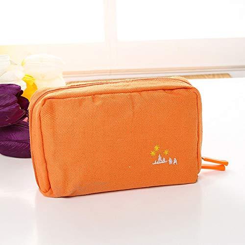 Version Voyage De La toile Trousse de maquillage Fonction multi Sac à glissière Toiletry Sac de rangement Kits de maquillage Faire Sacs Up,Orange
