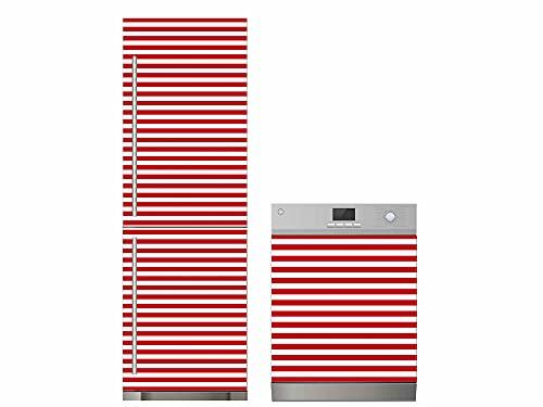 Oedim Pack Vinilo para Frigorífico + Vinilo para Lavavajillas Rayas Rojo, Adhesivo Resistente y Económico, Pegatina Adhesiva Decorativa de Diseño Elegante