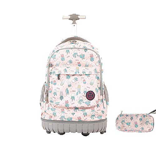 ZZLHHD Removable Kids Trolley Schoolbag,Large-capacity trolley backpack, back drawn two-purpose bag-powder_18 inch,Detachable Wheeled Backpack for Kids