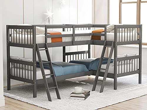 MWKL Las literas de Madera más Nuevas para 4 niños, con Marco de litera en Forma de L de Dos sobre Dos con Escalera y barandilla