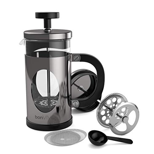 BonVivo GAZETARO I French Press - Design-Kaffeebereiter in Silber-Optik - Kaffeekocher aus Glas mit Edelstahl-Filter – Kaffeekanne 350ml (3 Tassen)