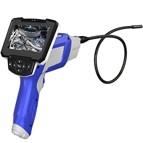 Endoscope Inspection Camera,Digital Industrial Endoscope Dual Lens 1080P full HD 4.3'' LCD Screen Handheld Borescopes with 16.4ft Semi-Rigid Cable,6 LED lights,32G SD Card,Pipe Sewer Inspection Camera