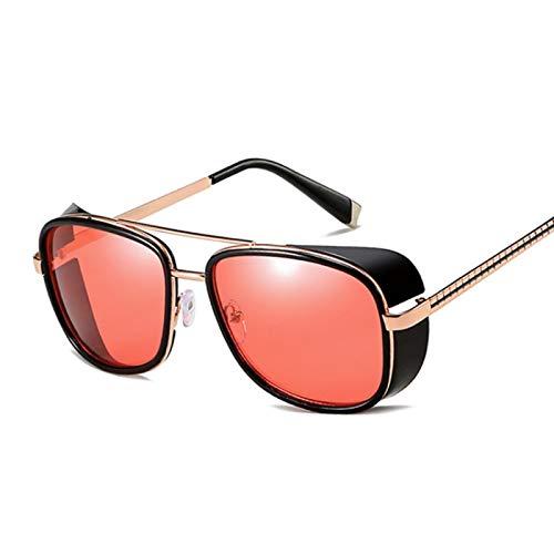 Astemdhj Gafas de Sol Sunglasses Hombre Gafas De Sol Hombres Mujeres Steampunk Gafas De Sol Hombre Vintage Gradient Red Sunglass Uv400 RedAnti-UV