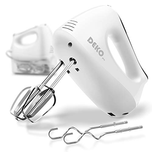 Electric Hand Mixer DEKOPRO 5-Speed Hand Mixer with 4 Attachments & Storage Case Kitchen Hand Mixer with Turbo for Whipping Mixing Cookies, Brownies, Cakes, Dough Batters