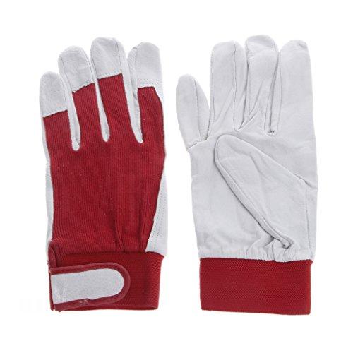 Lergo 1Paar Schweinsleder Leder Handschuhe Verschleißfest fahren Arbeiten Reparatur Gartenhandschuhe