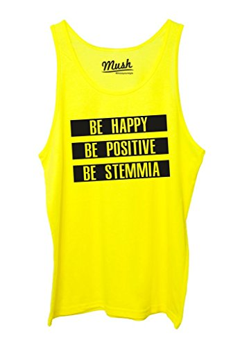 MUSH Canotta BE Happy BE STEMMIA - Divertente by Dress Your Style - Uomo-M-Giallo Fluo