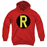 DC Robin Logo Unisex Youth Pull-Over Hoodie, Red, Medium