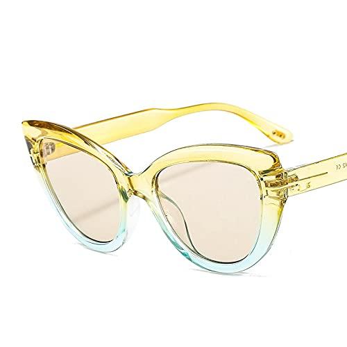 ShZyywrl Gafas De Sol De Moda Unisex Gafas De Sol De Ojo De Gato Vintage Retro para Mujer, Gafas De Sol De Ojo De Gato Grandes, Gafas De Sol Transparentes, Gaf