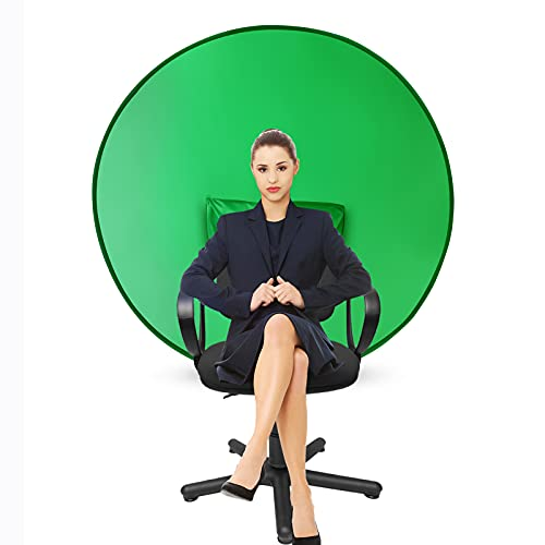CoosBonfik Portable Green Screen Backdrop (56''), Collapsible Webcam Background, Green Screen for Chair, Chroma Key Green, for Home Office Video Conferencing