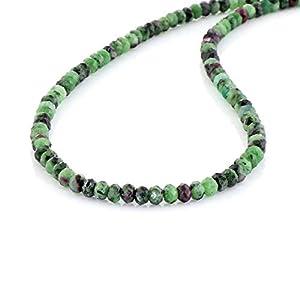 Halskette mit Rubin, Ziosite, Geburtstagsgeschenk, Edelstein-Perlen-Halskette, Sterlingsilber, Rubin-Zoisit-Halskette