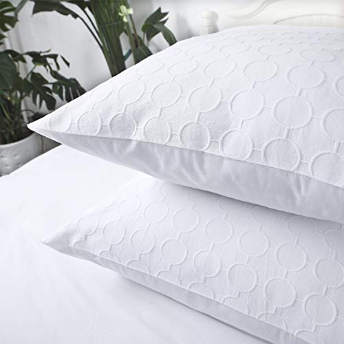 YINFUNG Euro Sham Covers White European Pillow Sham 26x26 Set of 2 Textured Matelasse Polka Dot Weave Quilted Embroidered Farmhouse Geometric Cotton Brocade Large Square Pillow Covers