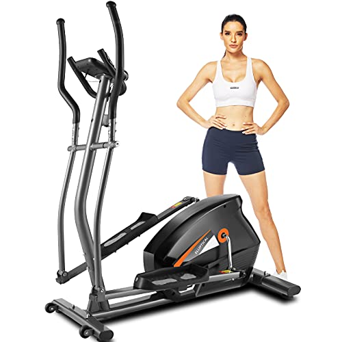 FUNMILY Elliptical Machines for Home Use,APP Control Cross Trainer with Hyper-Quiet Magnetic Driving System,10 Levels Magnetic Resistance,LCD Monitor, Heart Rate Sensor,390 LBS Weight Limit (Gray)