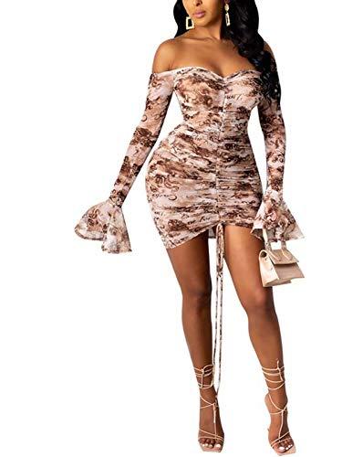 Women Brown Mini Dress - Long Sleeve Bell Off Shoulder Ruched Bandage Sexy Wedding Mini Dress Outfits Brown XL