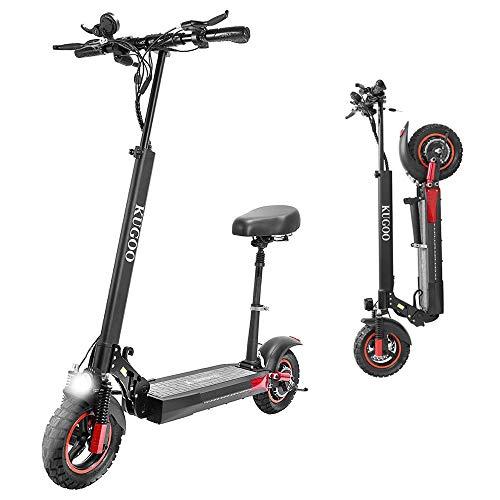 Kugoo M4 Pro - Patinete eléctrico para adulto, plegable, con asiento scooter eléctrico, autonomía de 55 Km, velocidad máxima de hasta 45 km/h, 500 W, motor doble, ruedas de 10 pulgadas