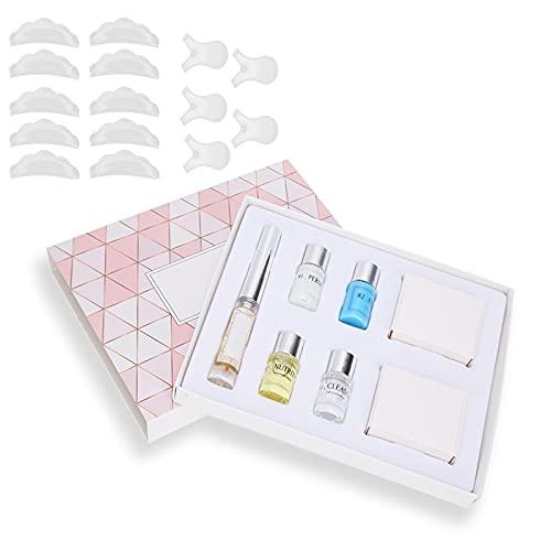 Kit de permanente de pestañas, almohadilla para levantar pestañas, agente de fijación permanente, solución nutritiva, conjunto de pegamento limpiador