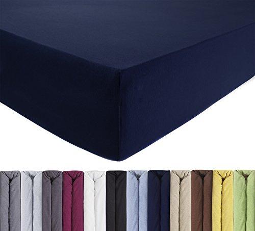 ENTSPANNO Jersey Spannbettlaken 140 x 200 | 160 x 220 cm für Wasser- und Boxspringbett in Dunkel-Blau/Marine aus gekämmter Baumwolle. Spannbetttuch mit Einlaufschutz bis 40 cm hohe Matratzen