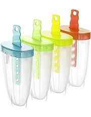 Rotho, Wave, Set van 4 ijsmakers voor de productie van ijs op een stokje, Kunststof (PP) BPA-vrij, veelkleurig, 14,5 x 6,0 x 12,0 cm