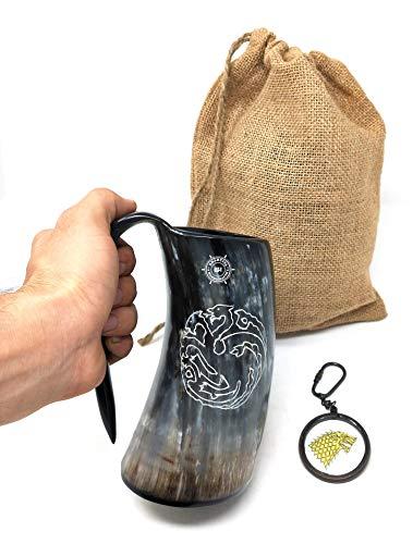 Bhartiya Handicrafts Taza de Cuerno de Beber Jarra de cerveza Vikingo | Taza de Cuerno de Bebida Auténtica Taza Vikingo (grande, 473 ml, dragón)