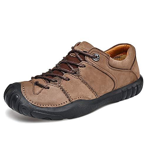 IENNSA Zapatos de Senderismo Nuevos Zapatos Informales de Cuero Genuino Hombres Caucho Antideslizante Hombres Zapatos para Hombres al Aire Libre Suaves Pisos para Viajar