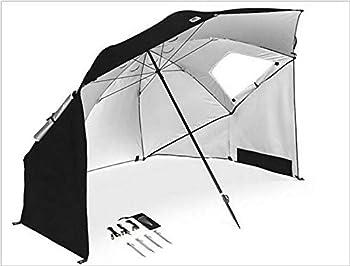 JINGBO 2.4M Tente De Plage Anti UV Famille - UPF50+ Protection Etanche Plage De Parasol de Plage avec Ouvertures et Protection Anti-Vent Parasol de Plage avec Ouvertures et Protection Anti-Vent