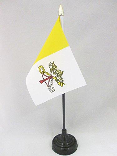 AZ FLAG TISCHFLAGGE Vatikanstadt 15x10cm goldene splitze - Staat Vatikanstadt TISCHFAHNE 10 x 15 cm - flaggen