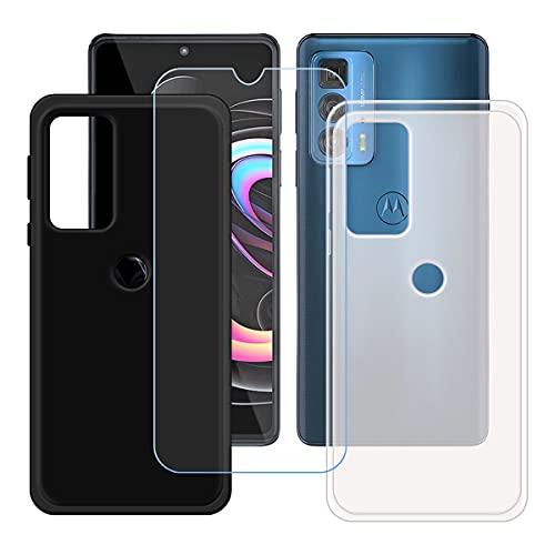 """szjckj 2 x Funda para Motorola Edge 20 Pro (6,7"""")+ 1 x Protector de Pantalla, Case Cover Carcasa Bumper Negro + Translúcido Clear TPU Silicone Cristal Vidrio Templado."""