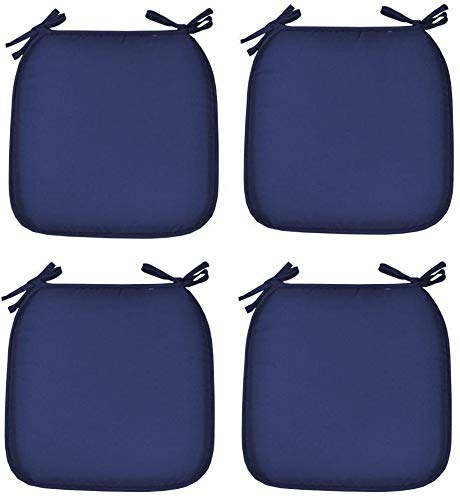 TopStyleFashion4u Garden, Dining Chair Padded Seat Tie On Seat Pads in set of 2,4,6,8,10…. (Pack of 4, Blue)