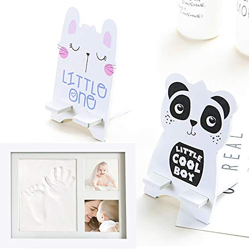 Juego de marco de fotos y huella de bebé, mano y huella personalizada, regalo de bautismo perfecto para bebé, con 2 soportes de dibujos animados