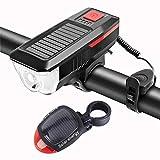 Luz Bicicleta La luz delantera de la bicicleta de la bici USB solar recargable LED frontal trasera Juego de luces de ciclo impermeable de la linterna de la linterna de la bici ( Color : Red Set )