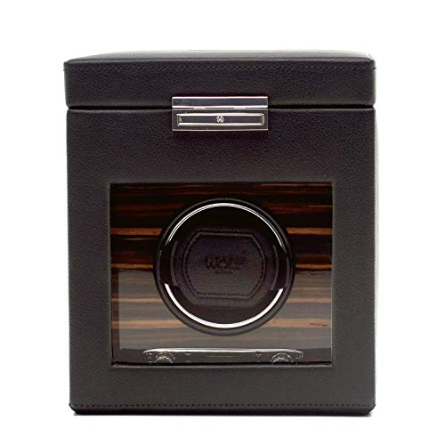 WOLF 457156 Roadster Single Watch Winder with Cover and Storage, Black